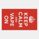 Keep Calm and Vape On Rectangle Sticker