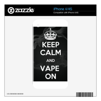 Keep Calm and Vape On Skin For iPhone 4S