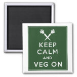 Keep Calm and Veg On 2 Inch Square Magnet
