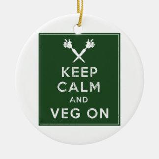 Keep Calm and Veg On Christmas Tree Ornament