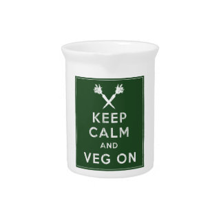 Keep Calm and Veg On Beverage Pitcher