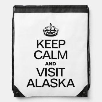 KEEP CALM AND VISIT ALASKA DRAWSTRING BACKPACK