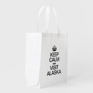 KEEP CALM AND VISIT ALASKA REUSABLE GROCERY BAGS
