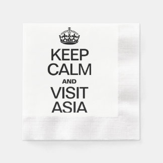 KEEP CALM AND VISIT ASIA COINED COCKTAIL NAPKIN