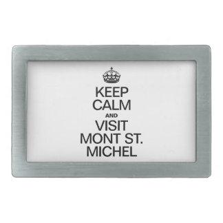 KEEP CALM AND VISIT MONT ST MICHEL RECTANGULAR BELT BUCKLE