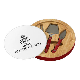 KEEP CALM AND VISIT RHODE ISLAND ROUND CHEESE BOARD