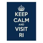KEEP CALM AND VISIT RI Post Card Post Cards