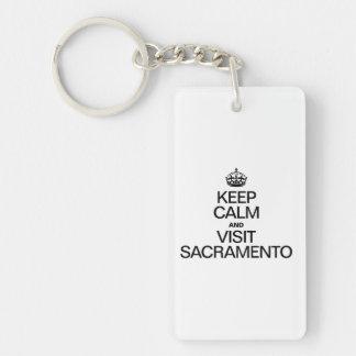 KEEP CALM AND VISIT SACRAMENTO RECTANGULAR ACRYLIC KEYCHAIN