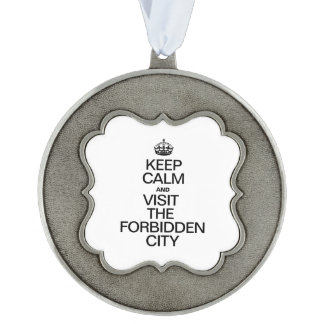 KEEP CALM AND VISIT THE FORBIDDEN CITY SCALLOPED ORNAMENT
