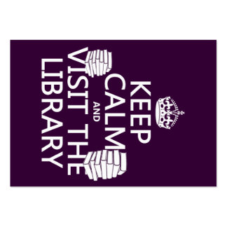 Keep Calm and Visit the Library - in any color Large Business Cards (Pack Of 100)