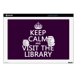 Keep Calm and Visit the Library - in any color Laptop Decal