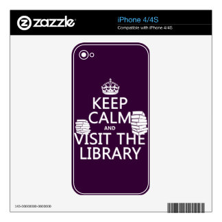 Keep Calm and Visit the Library - in any color Decals For iPhone 4S