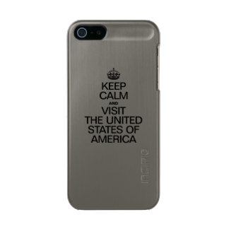 KEEP CALM AND VISIT THE UNITED STATES OF AMERICA. METALLIC PHONE CASE FOR iPhone SE/5/5s