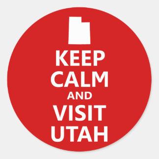 Keep Calm and Visit Utah Classic Round Sticker