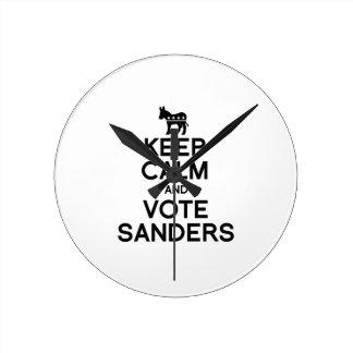 Keep Calm and Vote Bernie Sanders Round Clocks