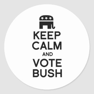 KEEP CALM AND VOTE BUSH -.png Classic Round Sticker