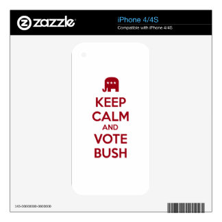Keep Calm and Vote Bush Decals For The iPhone 4