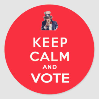 Keep Calm and Vote Classic Round Sticker