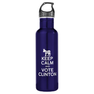 KEEP CALM AND VOTE CLINTON 24OZ WATER BOTTLE