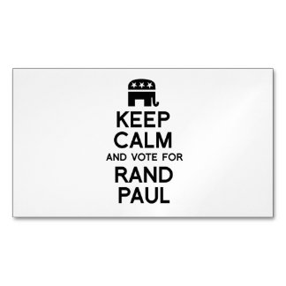 Keep Calm and Vote for Rand Paul Magnetic Business Cards (Pack Of 25)