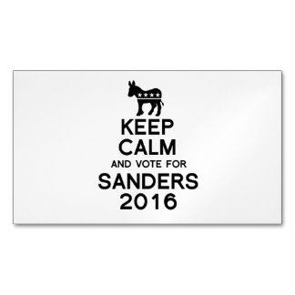Keep Calm and Vote for Sanders 2016 Magnetic Business Cards (Pack Of 25)