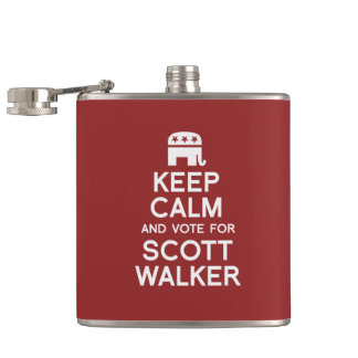 Keep Calm and Vote for Scott Walker Hip Flask