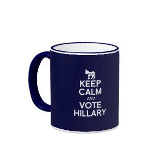 KEEP CALM AND VOTE HILLARY 2016 RINGER COFFEE MUG