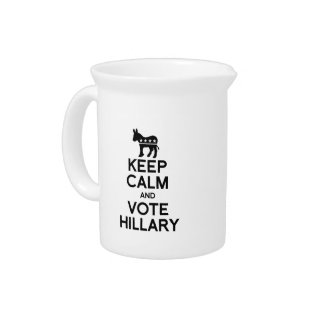 KEEP CALM AND VOTE HILLARY BEVERAGE PITCHERS