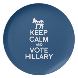 KEEP CALM AND VOTE HILLARY PLATE