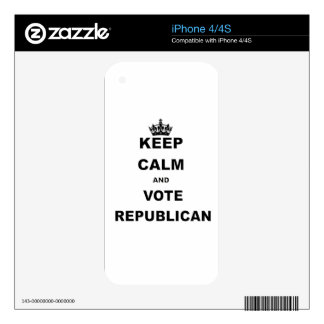 KEEP CALM AND VOTE REPUBLICAN DECALS FOR iPhone 4