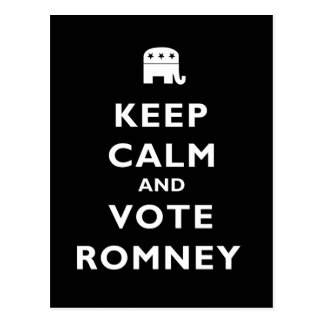 Keep Calm And Vote Romney Postcard