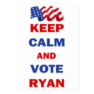 Keep Calm and Vote Ryan Postcard