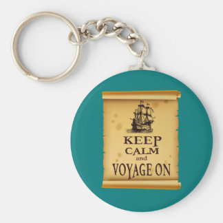 Keep Calm and Voyage On fun unique print Keychain