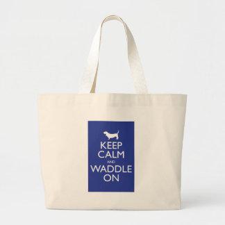 Keep Calm and Waddle on Jumbo Tote Bag