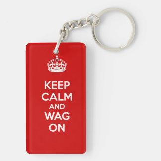 Keep Calm and Wag On Double-Sided Rectangular Acrylic Keychain