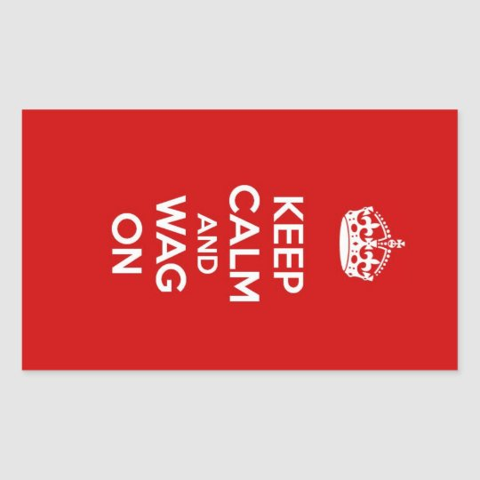 Keep Calm and Wag On Rectangular Sticker