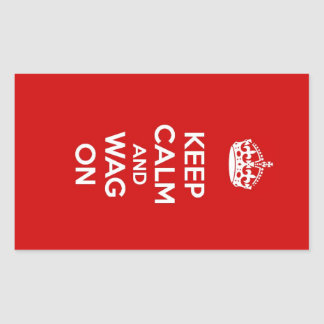 Keep Calm and Wag On Rectangle Sticker
