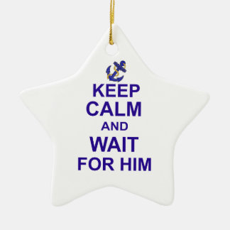 Keep Calm and Wait for Him Double-Sided Star Ceramic Christmas Ornament