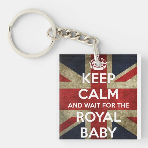Keep Calm... And Wait for the Royal Baby Single-Sided Square Acrylic Keychain