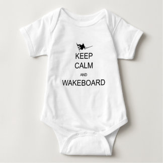 keep calm and wakeboard baby bodysuit