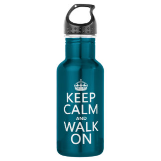 Keep Calm and Walk On (any background color) Stainless Steel Water Bottle