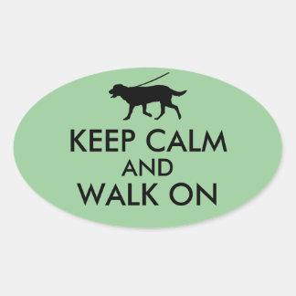 Keep Calm and Walk On Dog Walking Labrador Oval Sticker