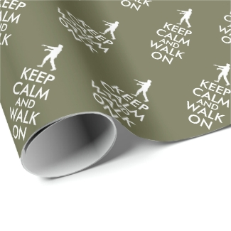 Keep Calm and Walk On Zombie Giftwrap Custom Color