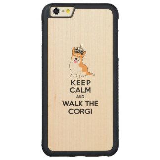 Keep Calm and Walk the Corgi Cute Dog Carved® Maple iPhone 6 Plus Bumper Case