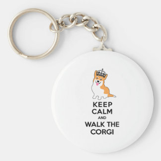 Keep Calm and Walk the Corgi Cute Dog Keychain