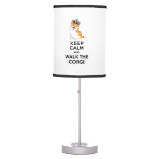 Keep Calm and Walk the Corgi Cute Dog Table Lamp