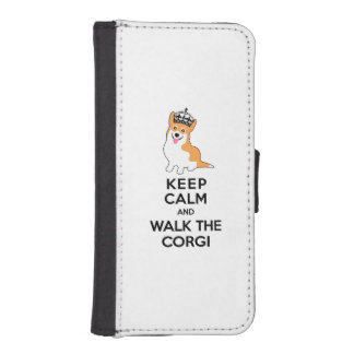 Keep Calm and Walk the Corgi Cute Dog Wallet Phone Case For iPhone SE/5/5s
