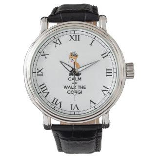 Keep Calm and Walk the Corgi Cute Dog Wrist Watches