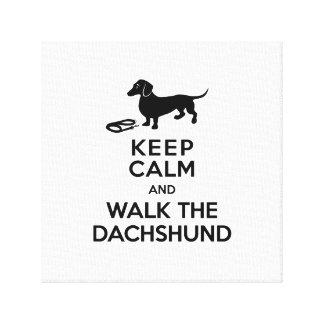 Keep Calm and Walk the Dachshund - Cute Doxie Canvas Print