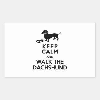 Keep Calm and Walk the Dachshund - Cute Doxie Rectangular Sticker